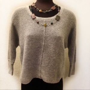 Cynthia Rowley Grey Scoop neck 3/4 sleeve sweater